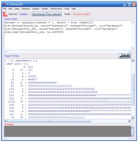 Seri belajar r 4 grafik menggunakan rcommander statistika dan klik ok untuk menampilkan output diagram batang dan daun output dari diagram ini akan ditampilkan di jendela keluaran pada rcommander seperti pada ccuart Choice Image